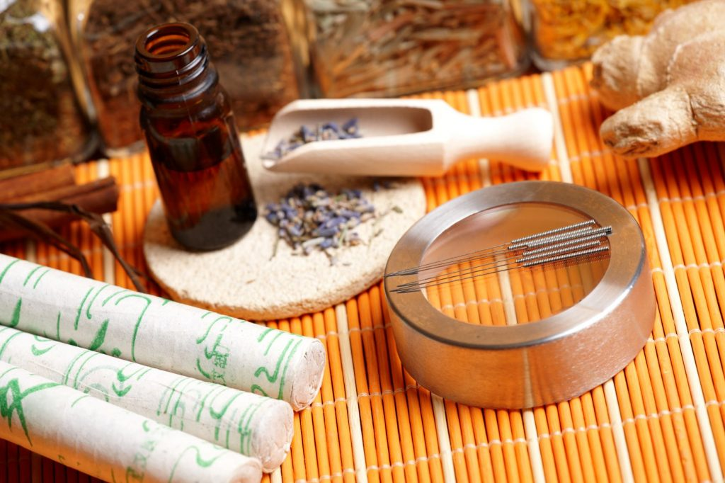natural therapy items including acupuncture needles, and traditional medicine
